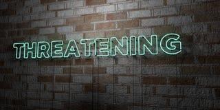 УГРОЖАТЬ - Накаляя неоновая вывеска на стене каменной кладки - 3D представило иллюстрацию неизрасходованного запаса королевской в бесплатная иллюстрация