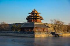 Угловая башня запретного города, Пекина, Китая Стоковая Фотография