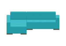 Угловая софа Голубое современное кресло Стоковое Изображение RF
