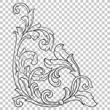 Угловой барочный элемент украшения орнамента Стоковые Изображения