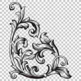 Угловой барочный элемент украшения орнамента Стоковая Фотография