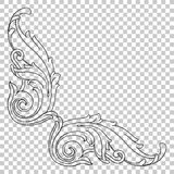 Угловой барочный элемент украшения орнамента иллюстрация вектора