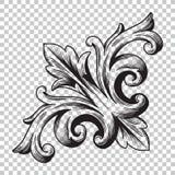 Угловой барочный элемент украшения орнамента Стоковые Изображения RF