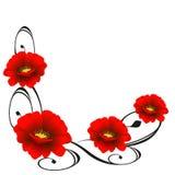 Угловой орнамент с красными цветками Стоковое Изображение RF