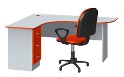 Угловой стол компьютера с отверстием кабеля и стулом офиса, апельсином и серым цветом Стоковое Изображение RF