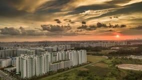 Удаленный городок на заходе солнца Стоковое Изображение RF