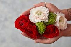 удерживание девушки цветков букета Стоковые Изображения