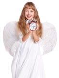 удерживание девушки costume часов ангела Стоковое Изображение