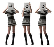 удерживание девушок счастливое маскирует унылое Стоковое Изображение