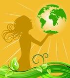 удерживание зеленого цвета девушки земли бесплатная иллюстрация