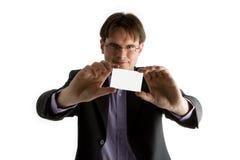 удерживание карточки бизнесмена стоковая фотография
