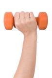 удерживание руки гантели женское Стоковое Изображение