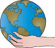 удерживание руки глобуса Стоковая Фотография RF