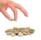 удерживание руки евро монетки Стоковые Фотографии RF