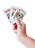удерживание руки карточек играя комплект Стоковое Изображение