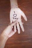 удерживание руки я тебя люблю Стоковое Изображение RF