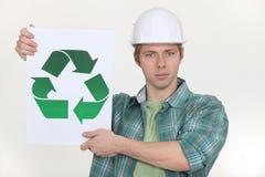 Удерживание строителя рециркулируя символ Стоковые Фотографии RF