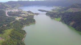 Удивительнейшая лагуна 7 cidades Lagoa das 7 городов сток-видео