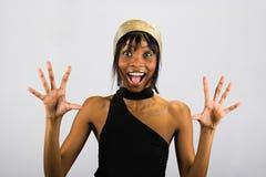 удивленная девушка афроамериканца Стоковая Фотография RF