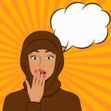 Удивленная девушка в hijab на предпосылке комика иллюстрация вектора
