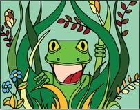 Удивленная ящерица в кустах Плоская картина стиля, персонажи из мультфильма, смешные животные, крася на белизне стоковые фото