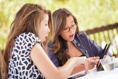 Удивленные предназначенные для подростков подруги используя их электрон компьютера Стоковая Фотография RF