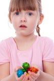удивленные руки девушки пасхальныхя Стоковые Фото