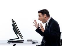 удивленный человек компьютера дела вычисляя Стоковая Фотография RF