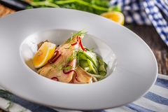 Удите филе форели с украшением салата и травы огурца Рыба Стоковое Изображение