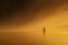 удить заход солнца мухы Стоковые Фото