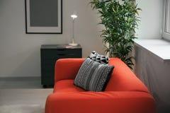 Удобная красная софа с подушками Стоковое Изображение RF