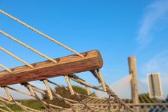 Удобная смертная казнь через повешение гамака на месте для лагеря в северной Голландии стоковая фотография