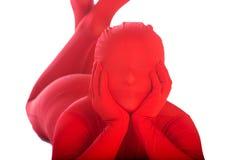 удобный вниз кладя красный цвет персоны Стоковое фото RF