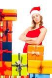 Удовлетворенные женщина и подарки рождества Стоковое Фото