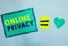 Уединение текста почерка онлайн Уровень безопасностью смысла концепции личных данных опубликовал через примечания бумаги бирюзы и стоковые фото