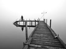 Уединённая пристань на озере Brunner Стоковая Фотография