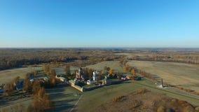 Уединённый монастырь в поле осени видеоматериал