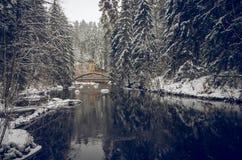 Уединённый мост над рекой зимы стоковые фотографии rf