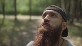 Уединённый турист битника смотрит вокруг На предпосылке зеленых деревьев видеоматериал