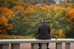 Уединённый человек сидя на каменном стенде и смотря природу вакханические стоковая фотография rf