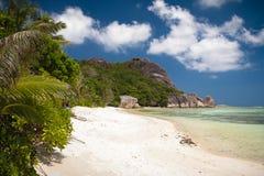 Уединённый пляж D'Argent источника Anse Стоковые Изображения RF