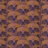 Ужасная пугающая безшовная картина с черепом Стоковые Фотографии RF