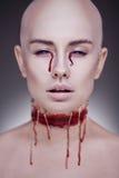 Ужасная страшная женщина зомби тыквы состава взгляда halloween черных волос съемка длинней сексуальная ся к женщине ведьмы Стоковое Изображение