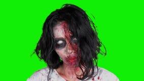 Ужасная страшная сторона женщины зомби в студии видеоматериал