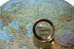 Узбекистан на русском глобусе Стоковое фото RF