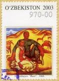 УЗБЕКИСТАН - 2003: показывает Baxt, счастье, Ayitbayev, картины серии стоковое изображение rf