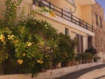 Узкая греческая улица Стоковое Изображение RF