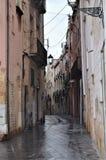 Узкая улица в дождливом дне Стоковые Фото