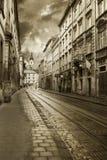 Узкая улица в Львове Стоковая Фотография RF