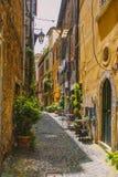 Узкая улица с ушатами естественных цветков и таблиц каф - TIVOLI, ЛАЦИА, ИТАЛИИ Вертикальный/тонизированный стоковое изображение rf
